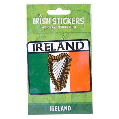 Ireland Harp Designed On Tricolour Flag Indoor And Outdoor Sticker