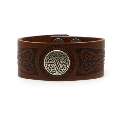 Lee River Genuine Brown Leather Cuff With Circular Celtic Design