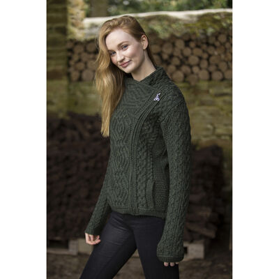 Cable Knit Cardigan With Side Zip Green