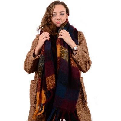 Celtic Ore Orange Blue Dark Red Colour Soft Oversized Wrap Scarf