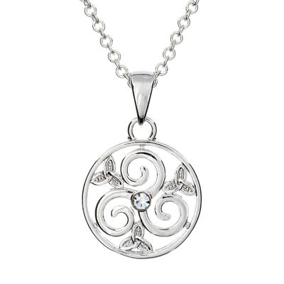 Silver Plated Carrick Silverware Triskell With Celtic Knot In Circle Pendant