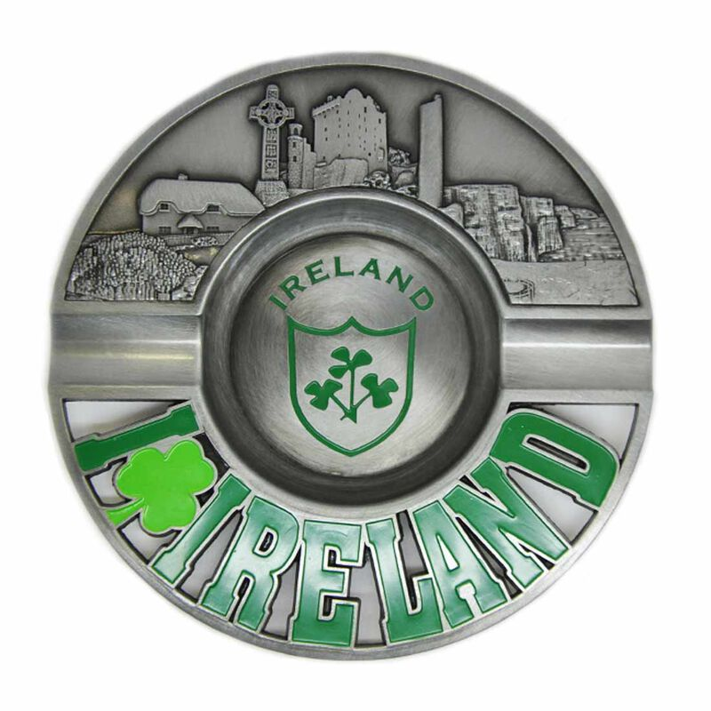 Metal 13cm Ireland Ashtray With Shamrock Design and Embossed Irish Landmarks