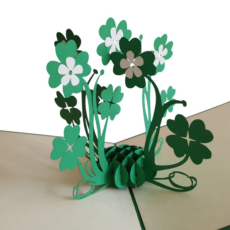 Pop-Up Card with a Bunch of Four Leaf Clovers Design