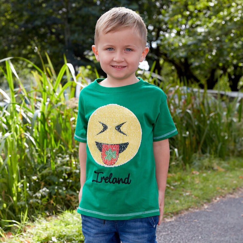 Ireland Kids T-Shirt With Laughing Emoji Design Green Colour