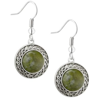 Rhodium Plated Connemara Marble Drop Earrings With Celtic Design