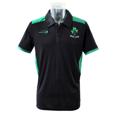 Black Ireland Performace Polo Shirt With Green Underarm and Trim Design