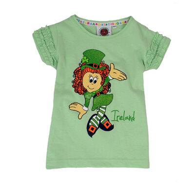 Green T-Shirt With Irish Girl Leprechaun Print