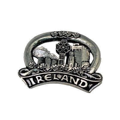 Mullingar Pewter Fridge Magnet With Embossed Ireland Text Design