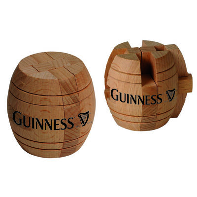 Official Guinness Wooden Barrel Puzzle Game With A Harp Design