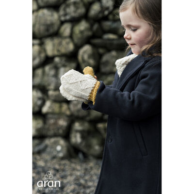Children's Yellow And Cream Woollen Knitted Mittens