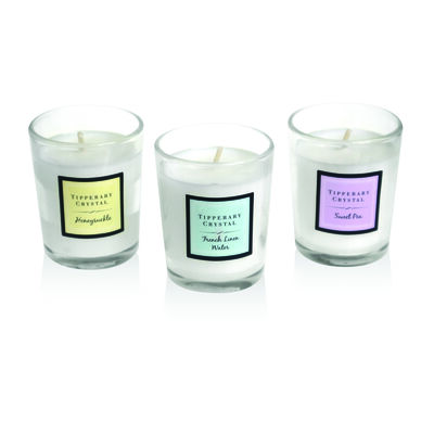 Tipperary Crystal Set Of Three Scented Candles In White Gift Box