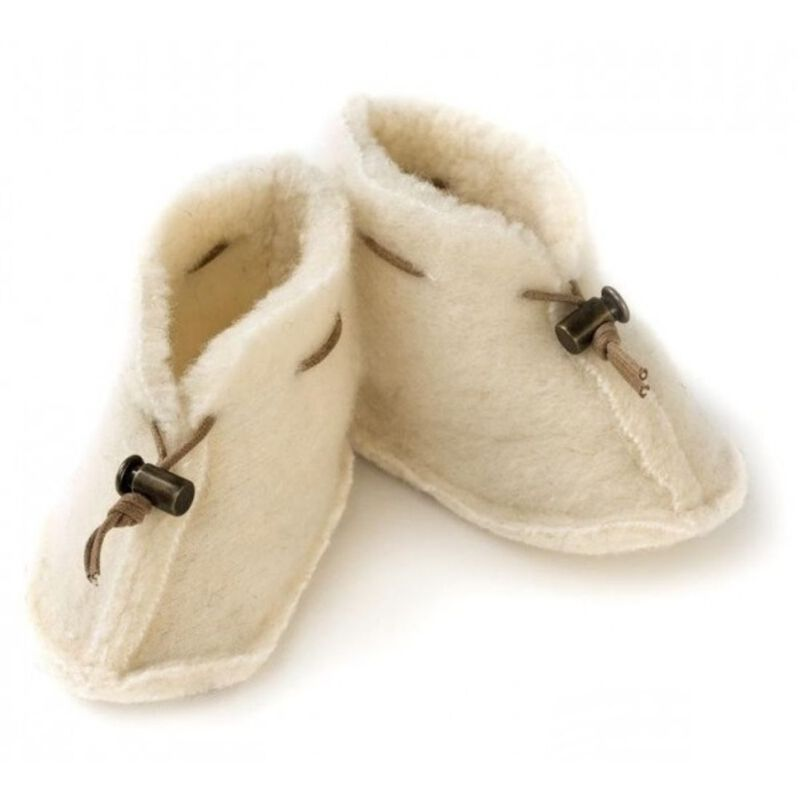 Fluffy And Gentle Traditional Wool Baby Booties  Natural Colour