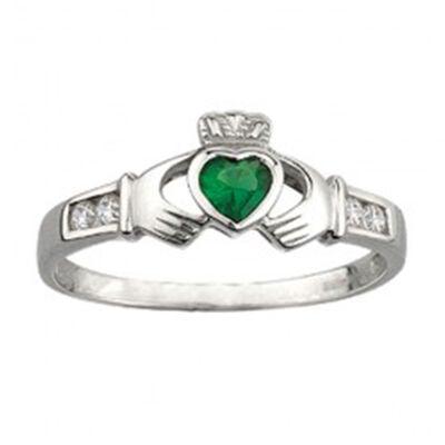 Claddagh-Ring mit synthetischem Smaragd und würfelförmigem Zirkonium  gepunztes Sterlingsilber