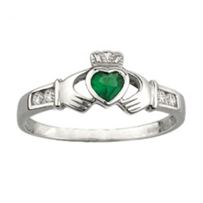 Claddagh Ring w/ Synthetic Emerald and Cubic Zirconium  Hallmarked Sterling Silver