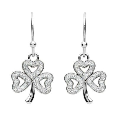 Platinum Plated Shamrock Drop Earrings With Clear Swarovski Crystals