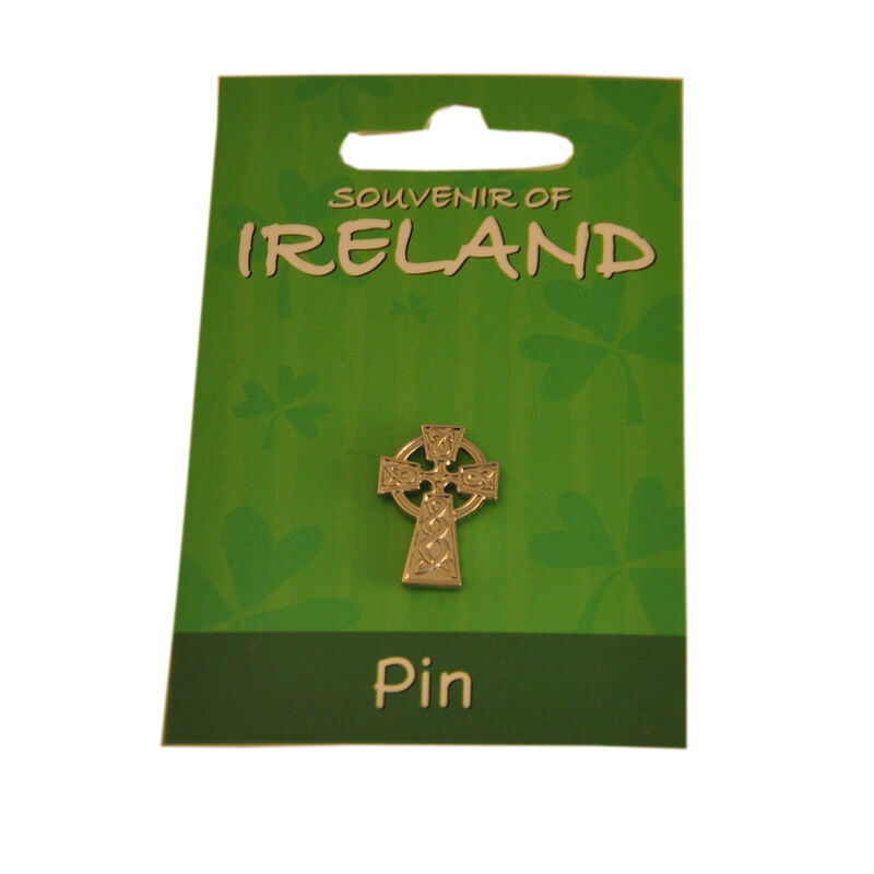 Elegant Silver Celtic Metal Cross Lapel Pin 2Cm X 1.5Cm