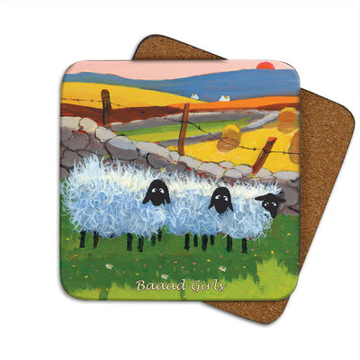 Irish Coaster With Fluffy Sheep In A Field With The Text 'Baaad Girls'