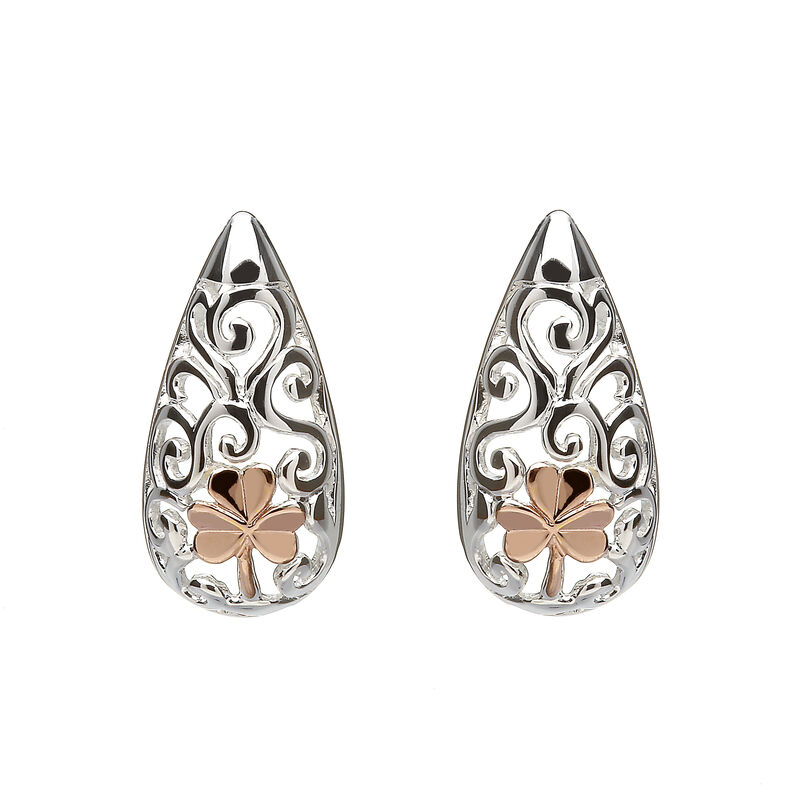 Hallmarked Sterling Silver Celtic Shamrock Stud Earrings With Rose Gold