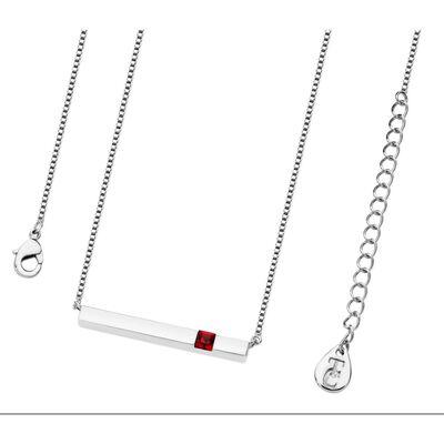 Tipperary Crystal Silver Ruby Crystal Birthstone Bar Pendant