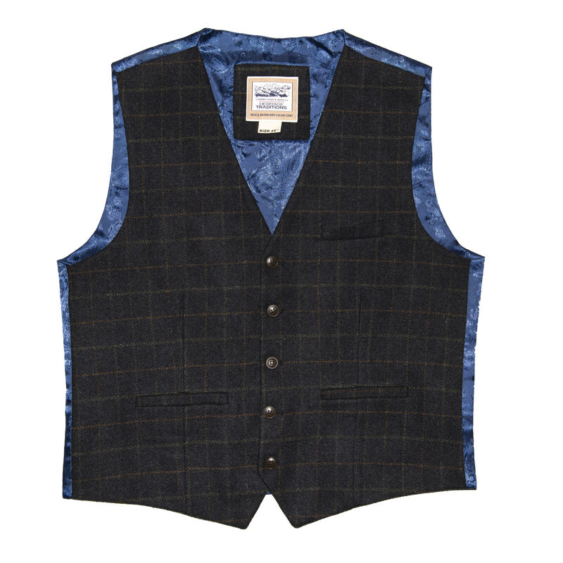 Heritage Traditions Tweed Box Check Waistcoat, Blue Colour