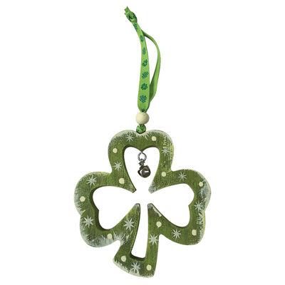 Rustikale Irland-Dekoration zum Aufhängen als Kleeblatt-Umriss