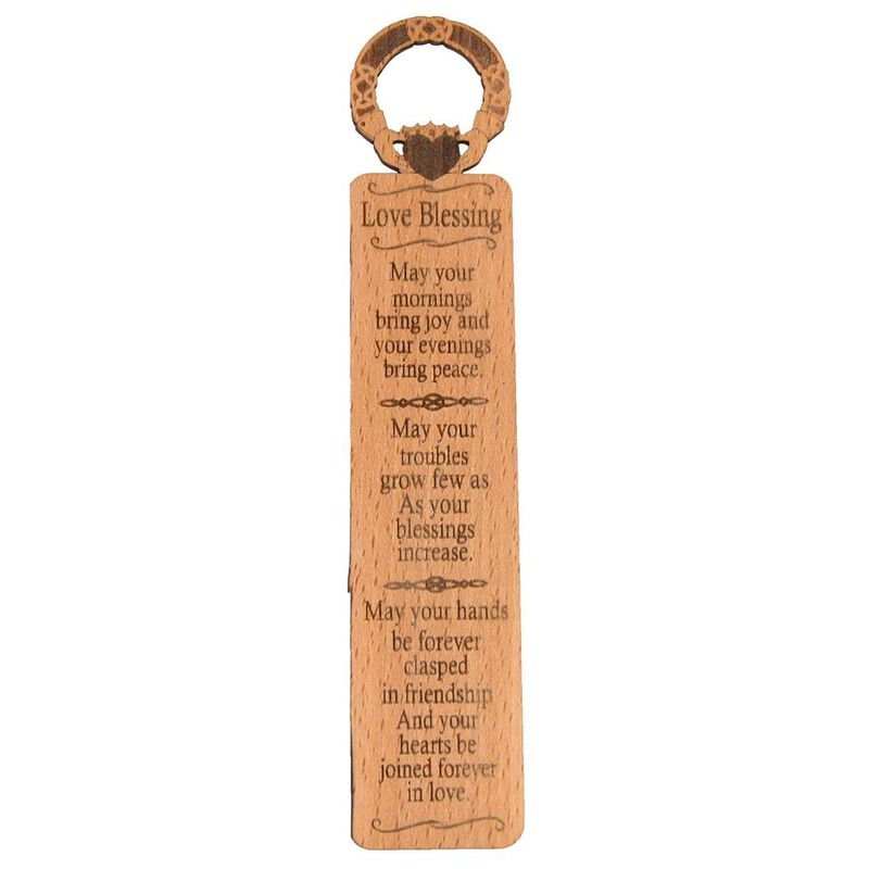 Irish Quality Wooden Bookmark With Claddagh Love Blessing Design