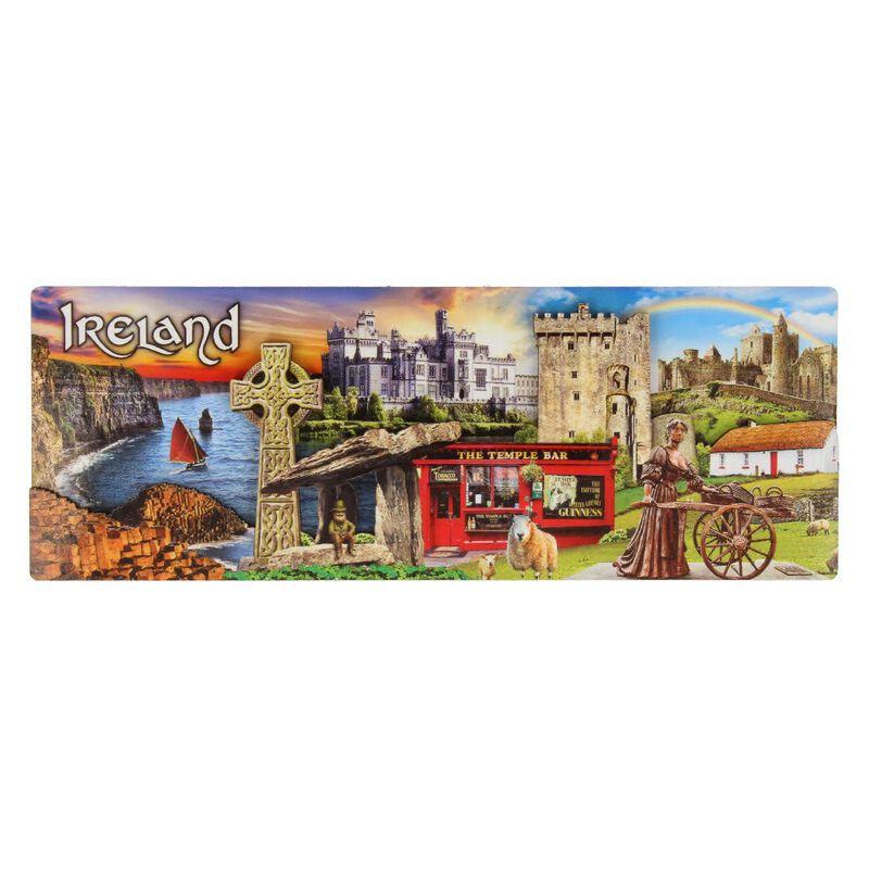 Ireland Montage Long Wooden Magnet With Irish Landmarks Design