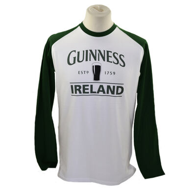 Guinness Long Sleeve T-Shirt With Pint and Guinness Ireland  White w/Green Sleeves
