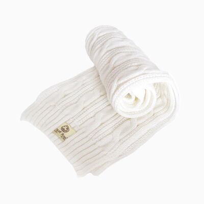 Man Of Aran Men's Cable Knit Scarf  White Colour