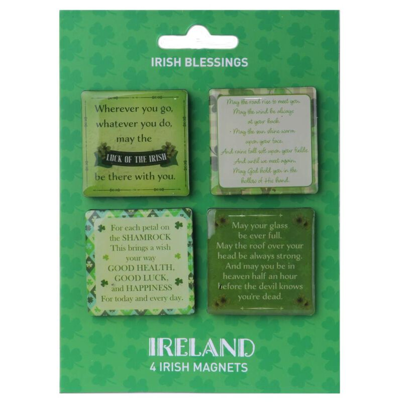 4 Pack Of Magnets With 4 Different Beautiful Irish Blessings Design
