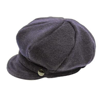 Ladies Solid Col Tweed Newsboy Hat, Colour Navy