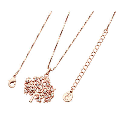 Tipperary Crystal Rose Gold Tree of Life Pendant With White Cubic Zirconia
