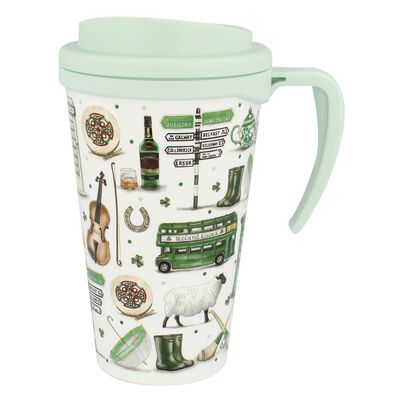 Impressions Of Ireland White And Green Travel Cup With Handle