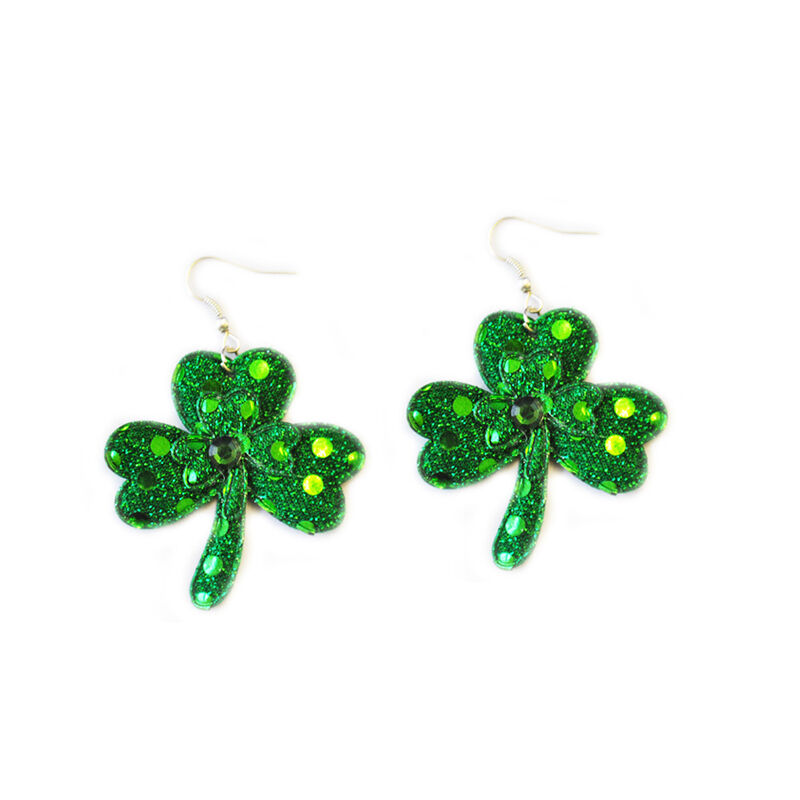 Glittery Novelty Shamrock Earrings