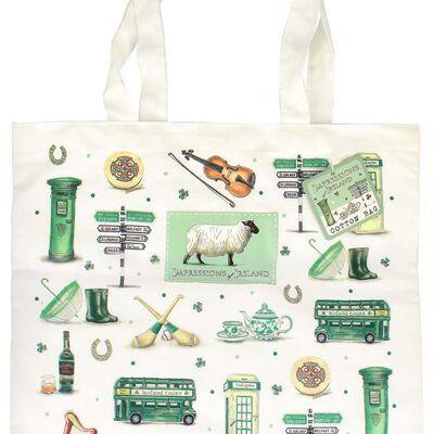 Impressions Of Ireland White Fold Up Bag With Irish Icons Design