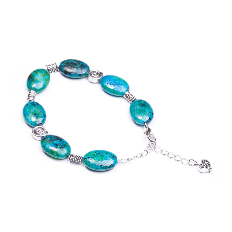 Celtic and Love Heart Design Chrysocolla Bracelet
