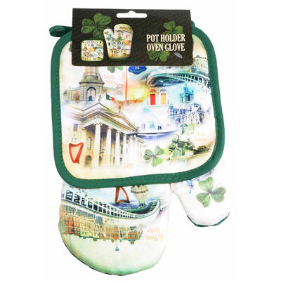 Dublin Pot Holder Oven Glove Design with Images of Trinity College  Molly Malone and Ha'Penny Bridge
