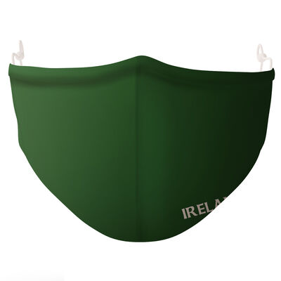 Re-usable Green Face Covering with 'Ireland' Text, Adjustable Ear Loops