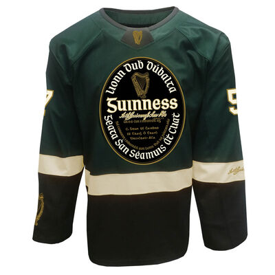 Guinness Ice Hockey Jersey With Irish Label Design, Bottle Green And Black Colour