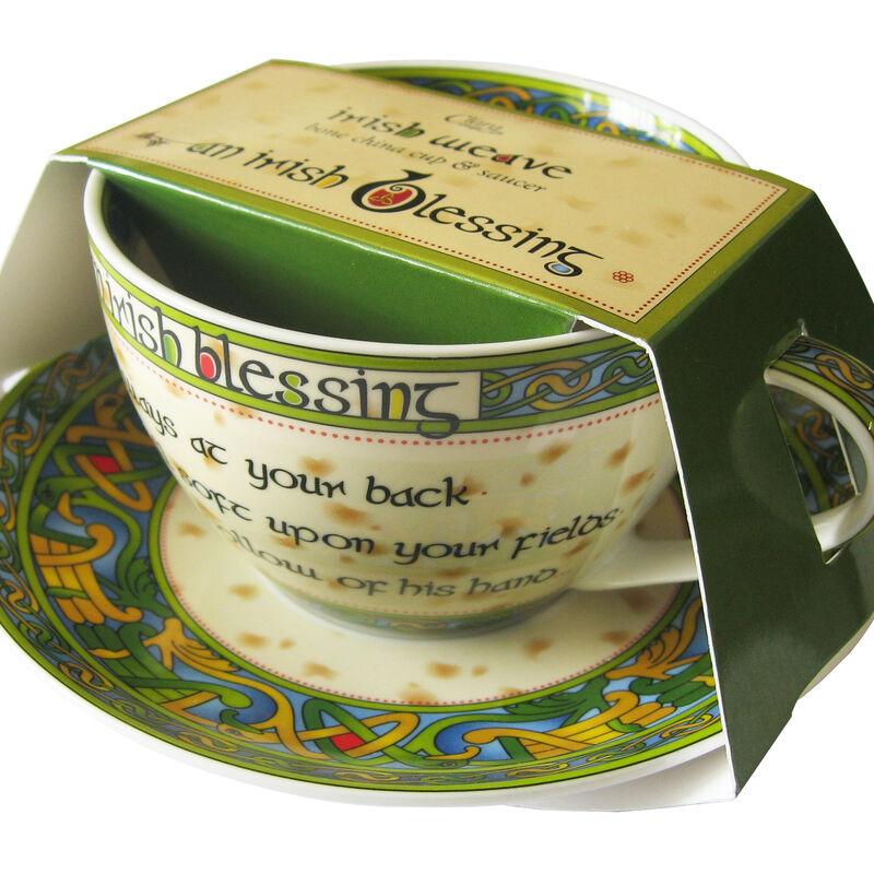 Irish Weave Bone China Cup and Saucer Set With Irish Blessing Design