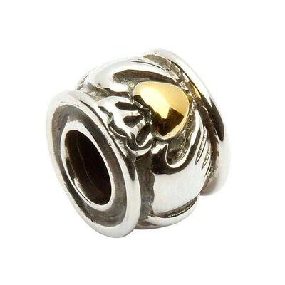 Claddagh-Glücksbringer aus gepunztem Sterlingsilber mit vergoldetem Herz