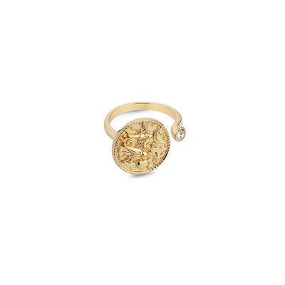 Gold Plated Amy Huberman Newbridge Silverware Ring with Clear Stone