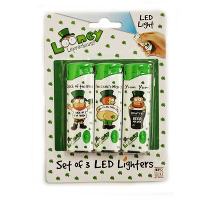 Electronic Lighter With Looney Leprechaun Design Three Pack