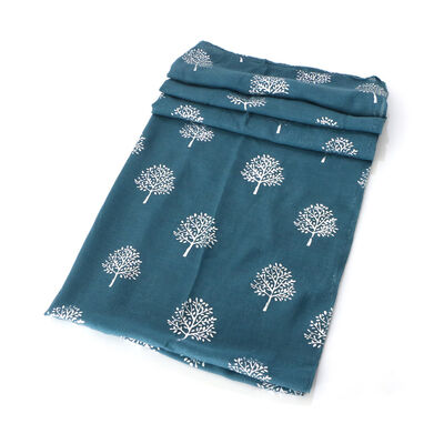 Light Scarf With Tree of Life Design, Blue Colour