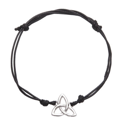 Versilbertes Trinity-Knoten-Armband  mit verstellbarem schwarzem Riemen