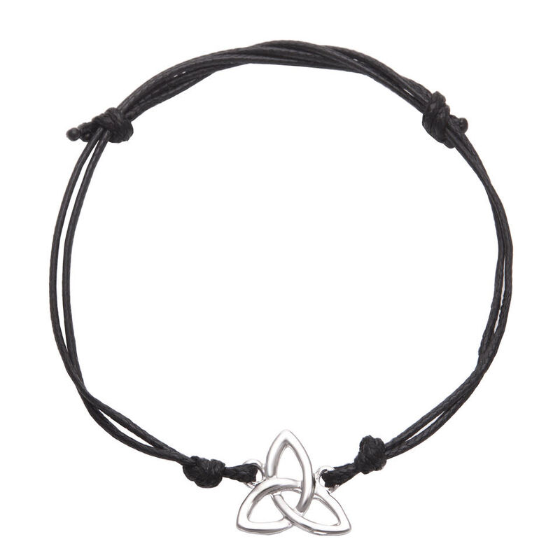 Silver Plated Trinity Knot Bracelet  With Adjustable Black Roped Strap