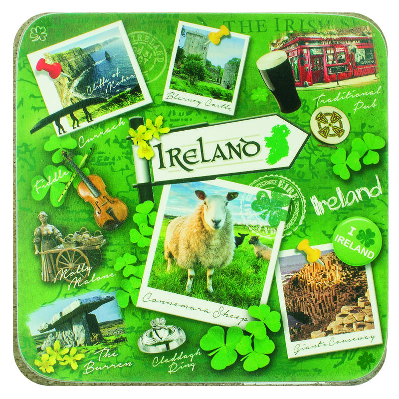 Irish Designed Single Coaster With Famous landmark Images Of Ireland