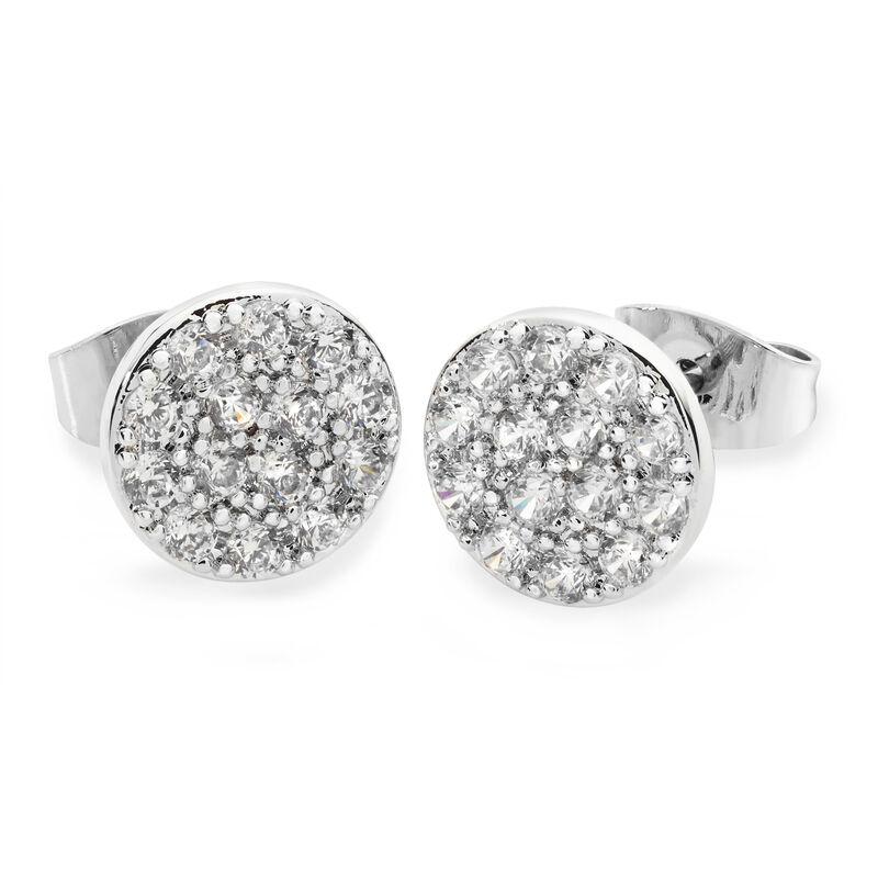 Tipperary Crystal Silver Concave Pave Moon Earrings, Comes With Gift Box