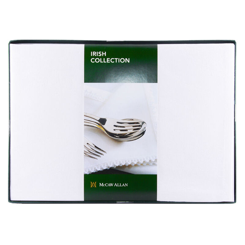Set of Four White Celtic Damask Linen Napkins – Presented in a Box