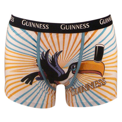 100% Cotton Guinness Toucan Design Boxers With Black Elastic Waist
